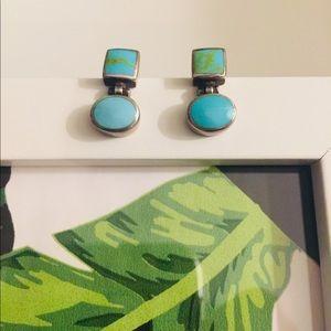 Jewelry - Aqua and silver earrings.